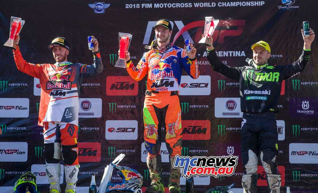 Desalle on the podium with Herlings and Cairoli