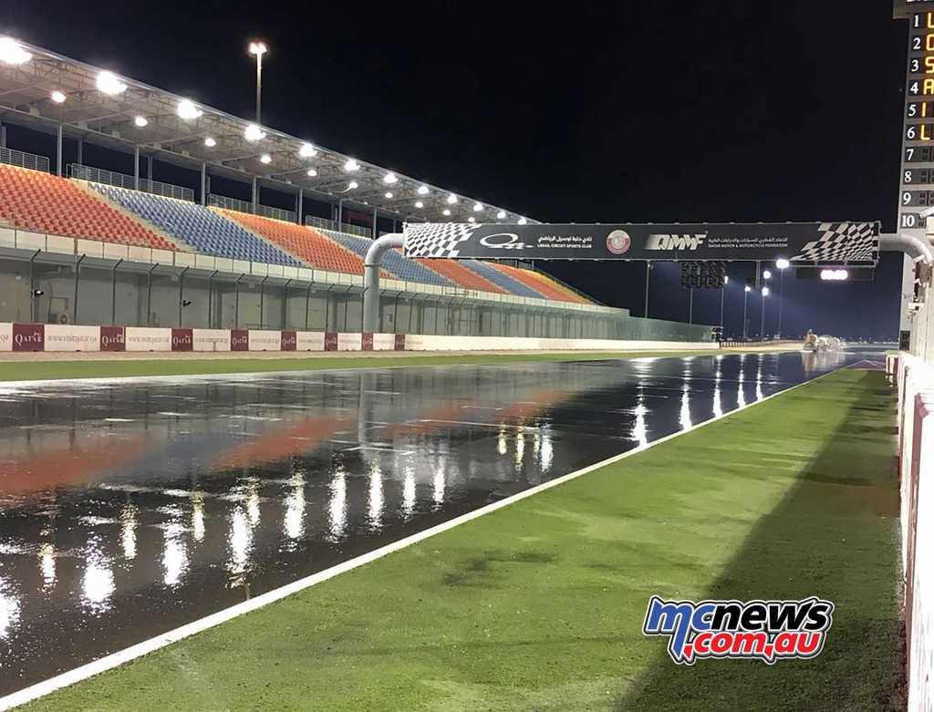 Losail International Circuit wet under floodlighting