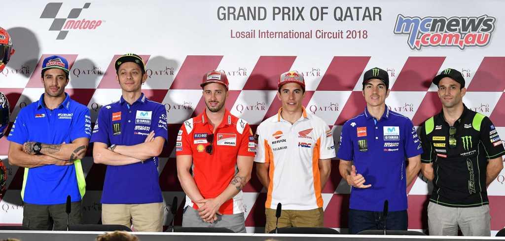 L-R: Iannone, Rossi, Dovizioso, Marquez, Viñales, Zarco
