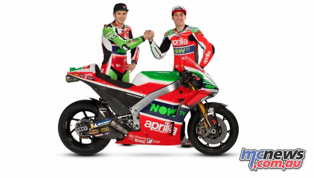 Aprilia have introduced the 2018 RS-GP and riders Scott Redding and Aleix Espargaro