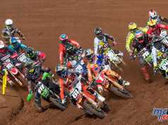 Pauls Jonass leading the MX2 field towards victory