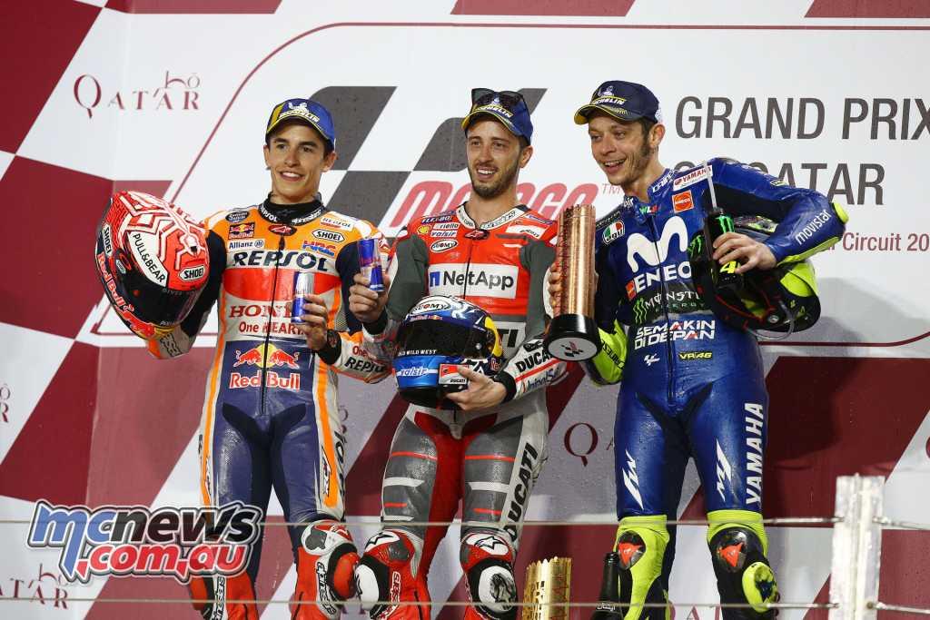 MotoGP 2018 – Round 1 Qatar – Race Classification Andrea DOVIZIOSO ITA Ducati Team 42'34.654 Marc MARQUEZ SPA Repsol Honda Team +0.027 Valentino ROSSI ITA Movistar Yamaha MotoGP +0.797