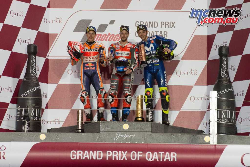 The MotoGP Podium saw Dovizioso on the top step from Marc Marquez and Valentino Rossi