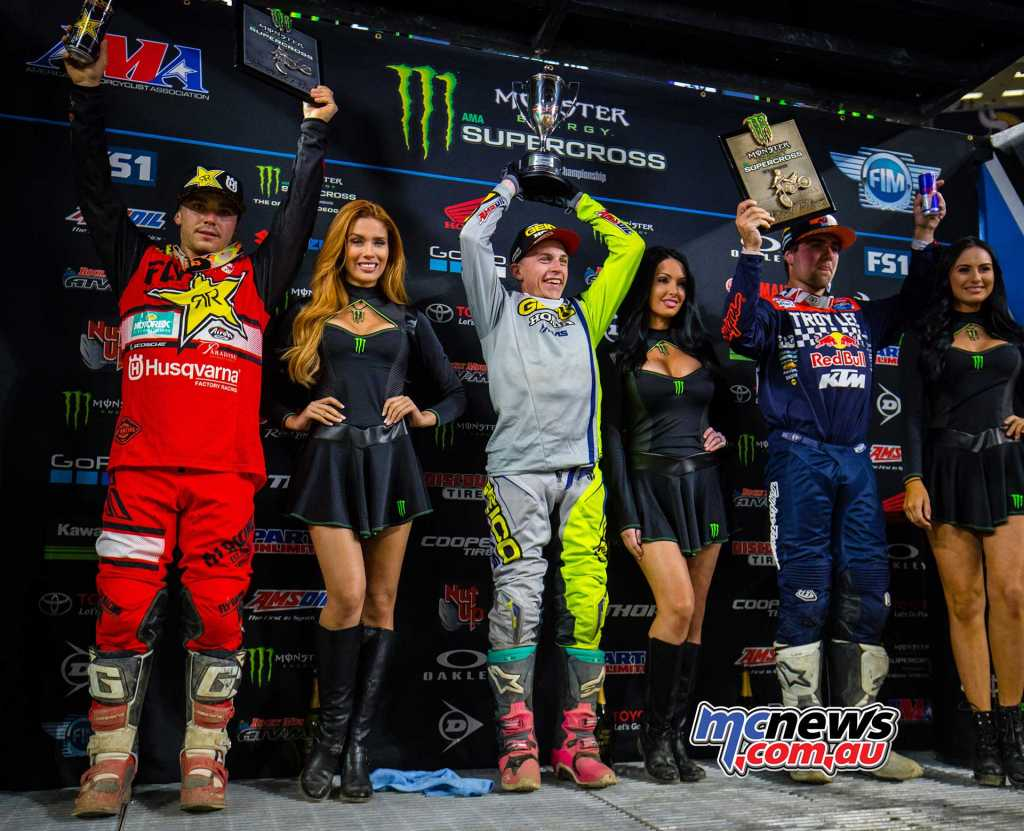 AMA Supercross 2018 - Round 14 - Minneapolis 250SX Race Results Jeremy Martin (HON) 3-3-1 Zach Osborne (HUS) 4-1-2 Jordon Smith (KTM) 2-2-3