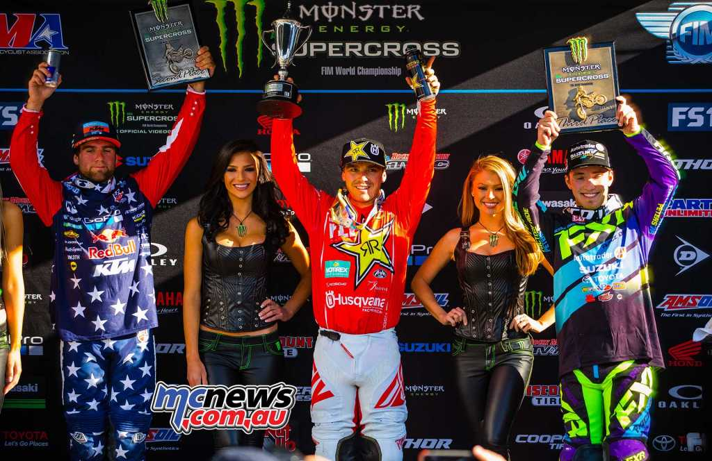 AMA SX 2018 - Round 15 250SX Podium - Osborne took the top spot, from Smith and Peters
