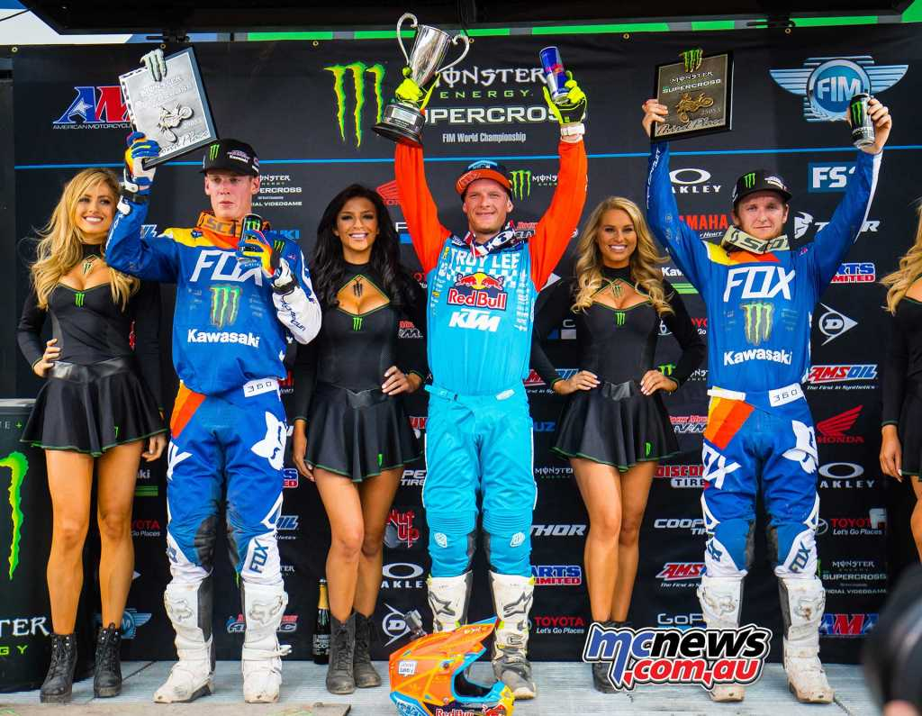 AMA Supercross 2018 - Round 16 - Salt Lake City - 250 Results Shane McElrath - KTM Adam Cianciarulo - Kawasaki Joey Savatgy - Kawasaki