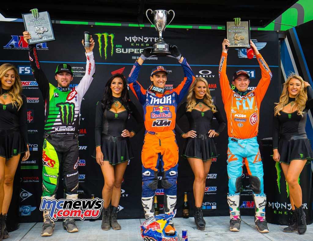 AMA Supercross 2018 - Round 16 - Salt Lake City - 450 Results Marvin Musquin - KTM Eli Tomac - Kawasaki Blake Baggett - KTM