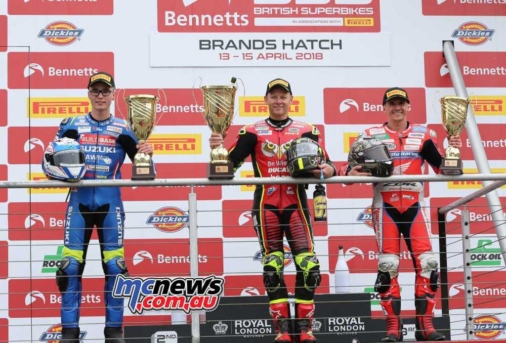 Bennetts British Superbike Championship, Brands Hatch, Race One result: Shane Byrne (Be Wiser Ducati) Bradley Ray (Buildbase Suzuki) +0.837s Jason O'Halloran (Honda Racing) +2.412s
