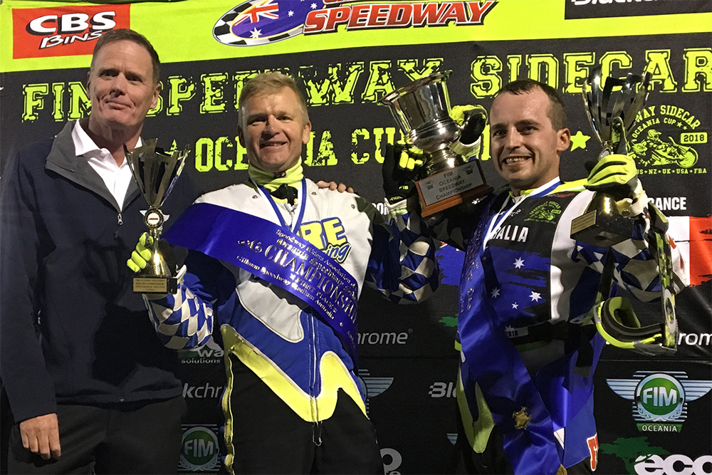 Darrin Treloar and Jesse Headland have won the FIM Oceania Speedway Sidecar Championship