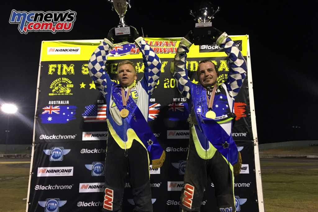 Darrin Treloar and Jesse Headland claim the World Cup win