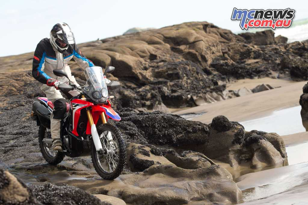 Gearing on the CRF250L is tall, and suspension soft, with a relatively tall seat heat