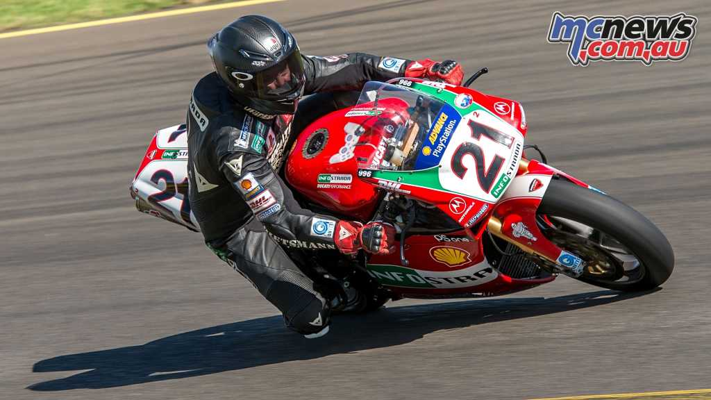 Troy Bayliss was also out on track, thrilling spectators