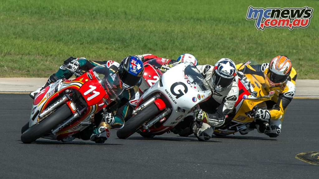 Action of the P5 class: Corser, leads Kiwi Glen Skachil on his astounding Bimota YB8 with McWilliams in very close proximity.
