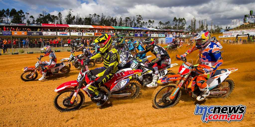 Jorge Prado #61 leads the MX2 pack into turn one in Portugal