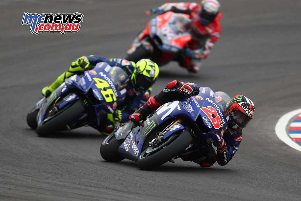 Maverick Vinales leads Rossi and Dovizioso in Argentina - Image by AJRN