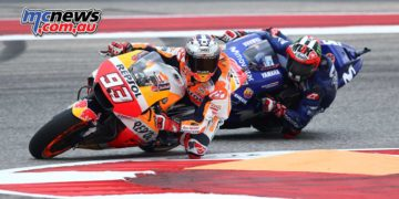 Marquez leading Vinales at COTA in 2018 - Image by AJRN