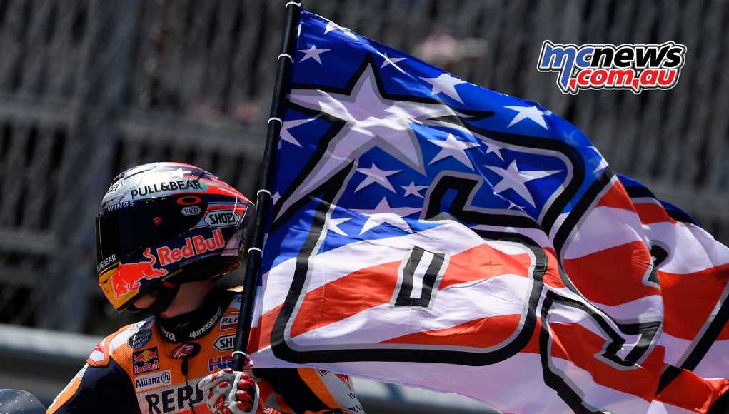 Marc Marquez carried a Nicky Hayden flag in Texas
