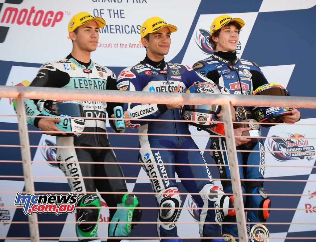 Circuit of the Americas Moto3 - Top 10 Race Results Jorge MARTIN SPA Del Conca Gresini Moto3 Enea BASTIANINI ITA Leopard Racing +1.451 Marco BEZZECCHI ITA Redox PruestelGP +4.112