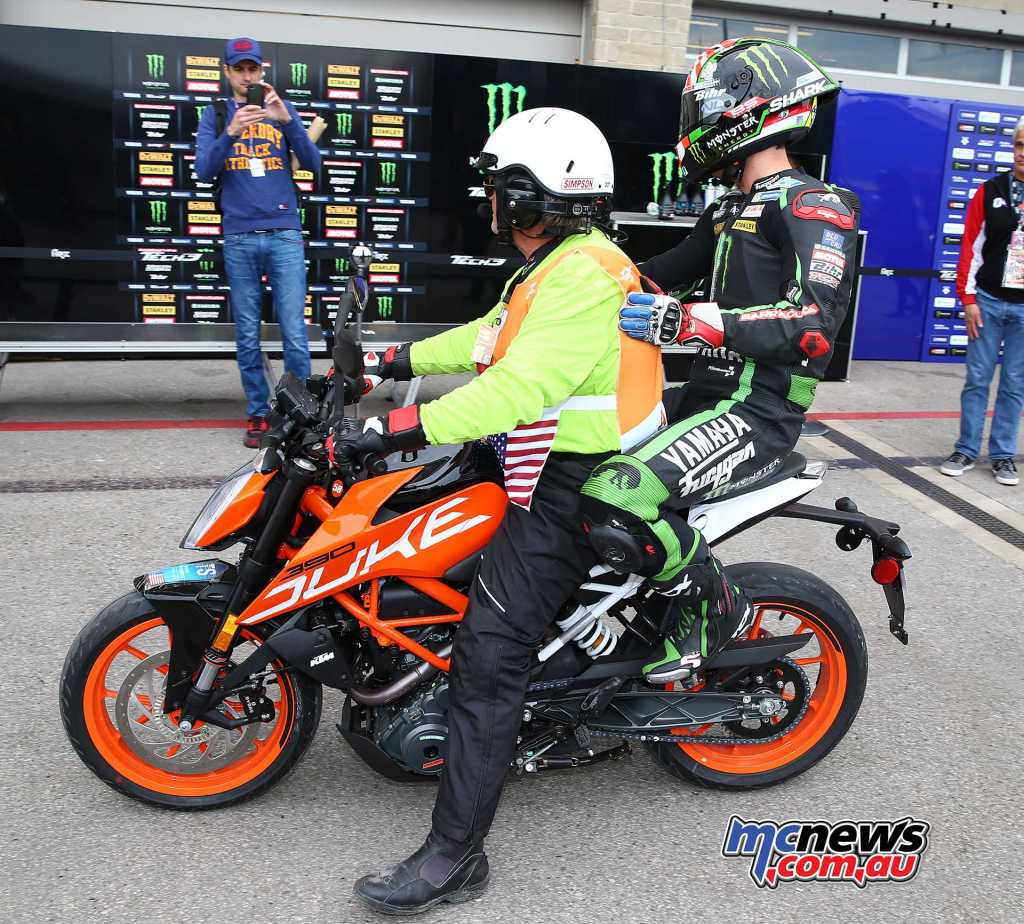 Zarco got a lift on the back of a KTM at COTA, next time he will be at the controls rather than pillion! - Image by AJRN