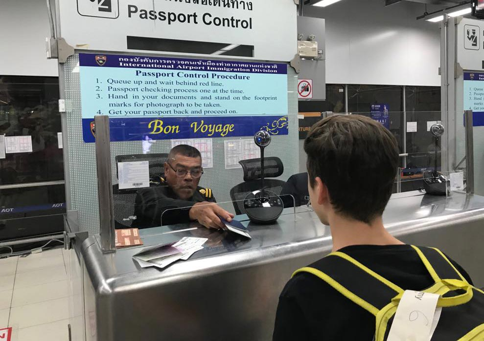 Billy passing through immigration