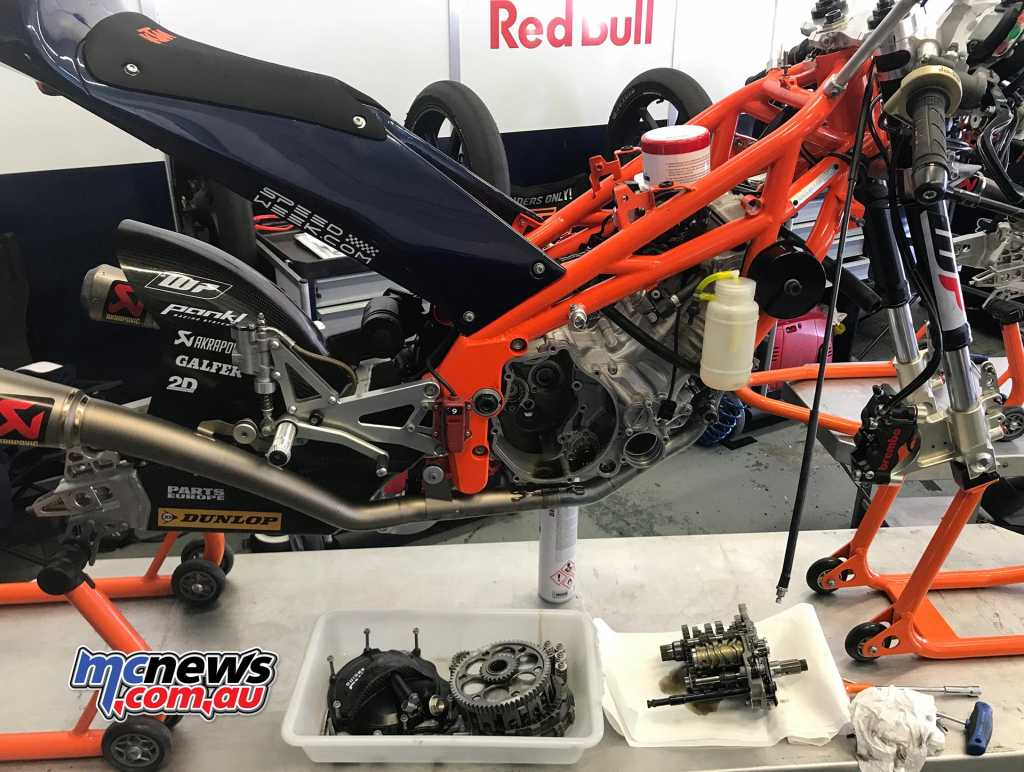 Wednesday saw the bikes stripped down, which is work done by the mechanics as well as the rider's Dads or helpers