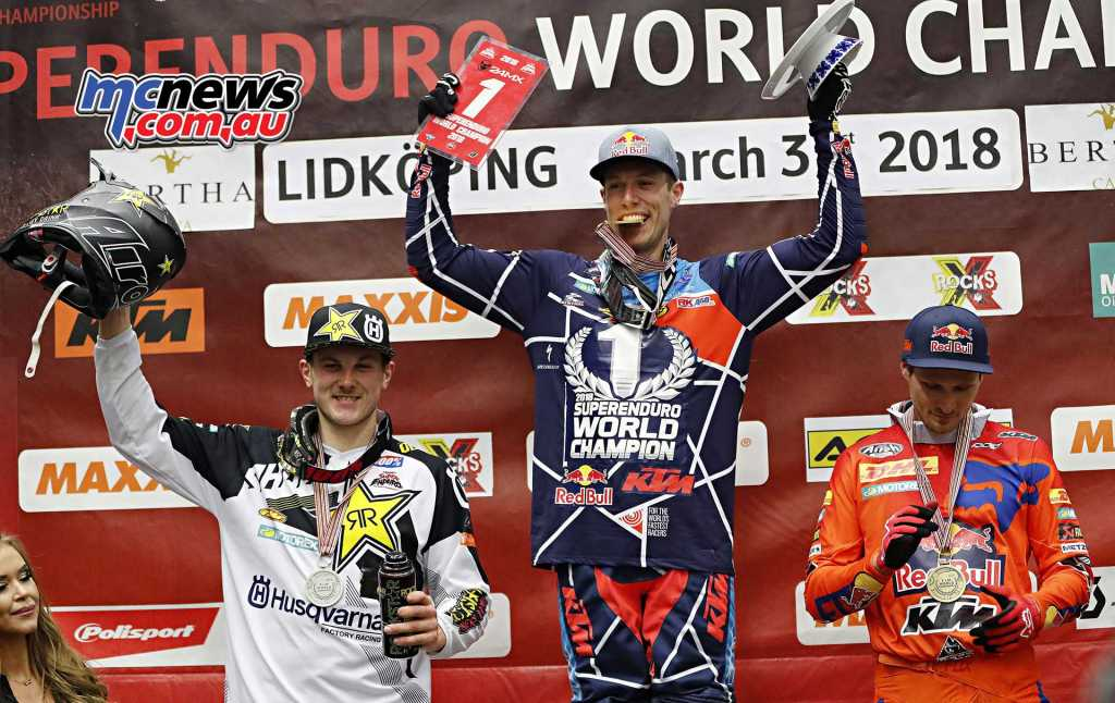 Final Standings SuperEnduro 2018 after 5 of 5 rounds Cody Webb (USA), KTM, 240 points 2. Billy Bolt (GBR), Husqvarna, 226 pts 3. Taddy Blazusiak (USA), KTM, 225 pts