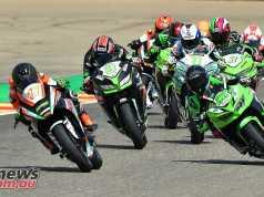 A lone KTM leads a brace of Kawasaki Ninja 400s at Aragon overnight