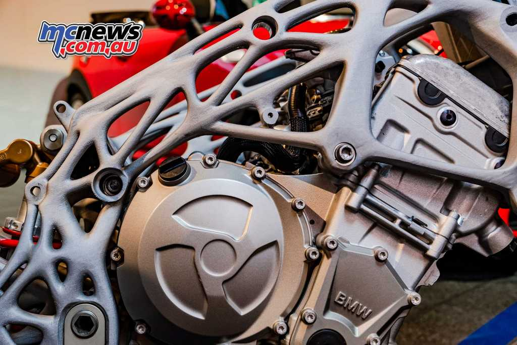 3D printed motorcycle frame shown by BMW at an event in Mallorca this week