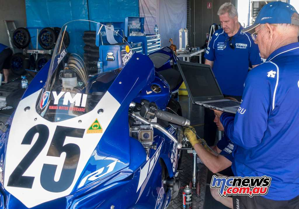 Daniel Falzon's YRT YZF-R1 being prepped ahead of the second practice session