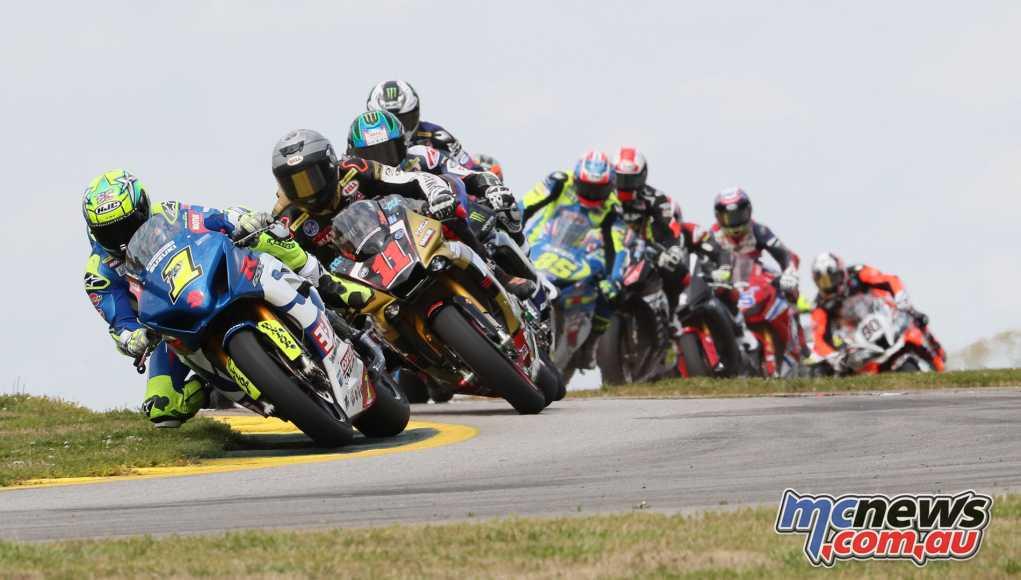 Toni Elias leads the Superbike class at the Atlanta MotoAmerica