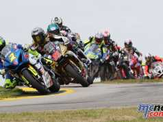 Toni Elias leads the Superbike class at the Atlanta MotoAmerica
