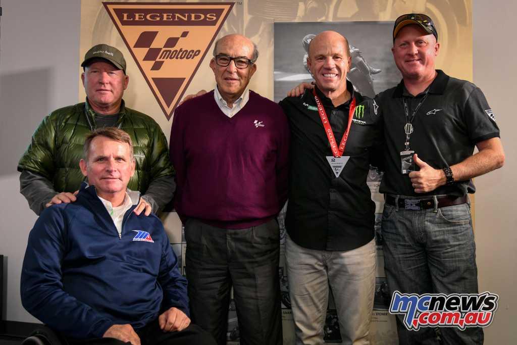 Ezpeleta and Mamola alongside other legends Kenny Roberts Sr, Kenny Roberts Jr, and Wayne Rainey