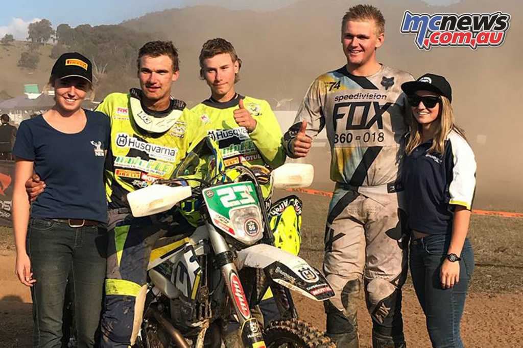 Husqvarna riders Mitch and Josh Brierley along with teammate Jack Heffernan
