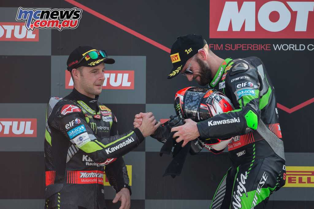 Assen 2018 - Race Two - Rea and Sykes on the podium
