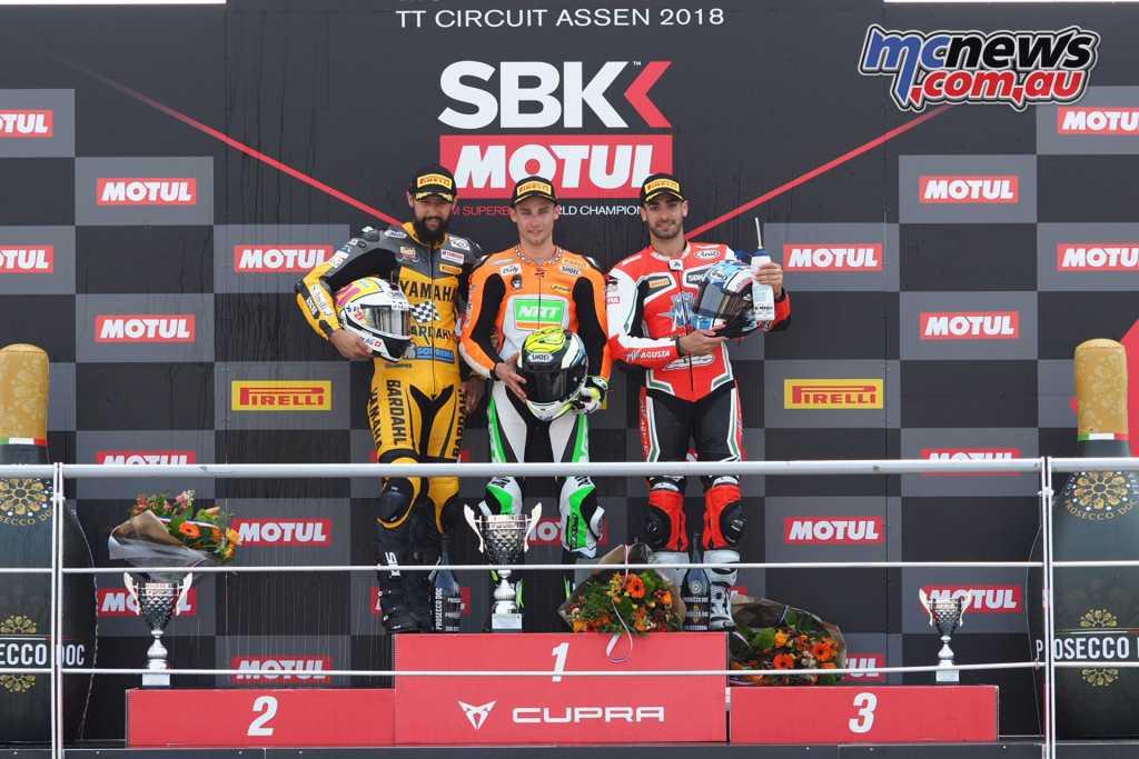 The World Supersport podium at Assen, 2018