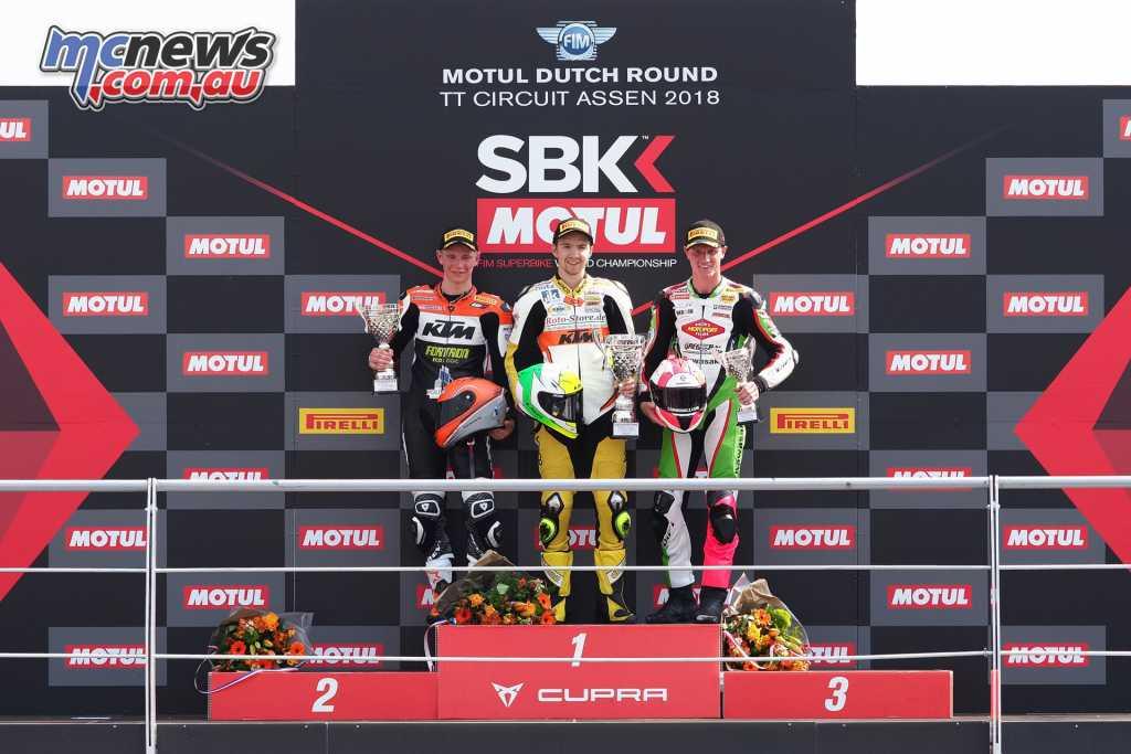 The World Supersport 300 podium at Assen, 2018
