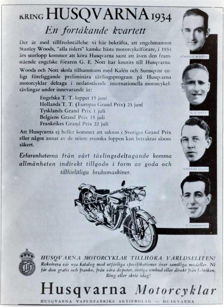 1934 Husqvarna racing advertisement