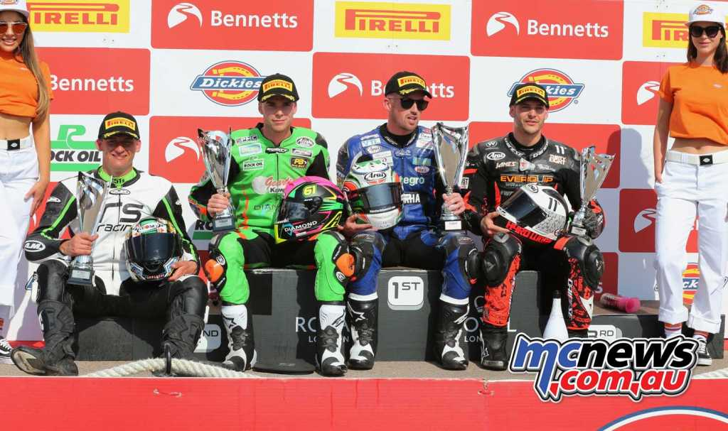 Dickies British Supersport Championship, Oulton Park, R2 Jack Kennedy (Integro Yamaha) Ben Currie (Gearlink Kawasaki) +3.040s James Rispoli (Everquip Racing Yamaha) +18.278s