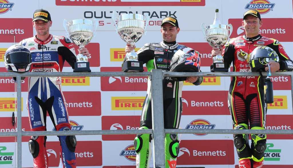 British Superbike Championship, Oulton Park, R1 result Leon Haslam (JG Speedfit Kawasaki) Jake Dixon (RAF Regular & Reserves Kawasaki) +1.624s Shane Byrne (Be Wiser Ducati) +6.224s