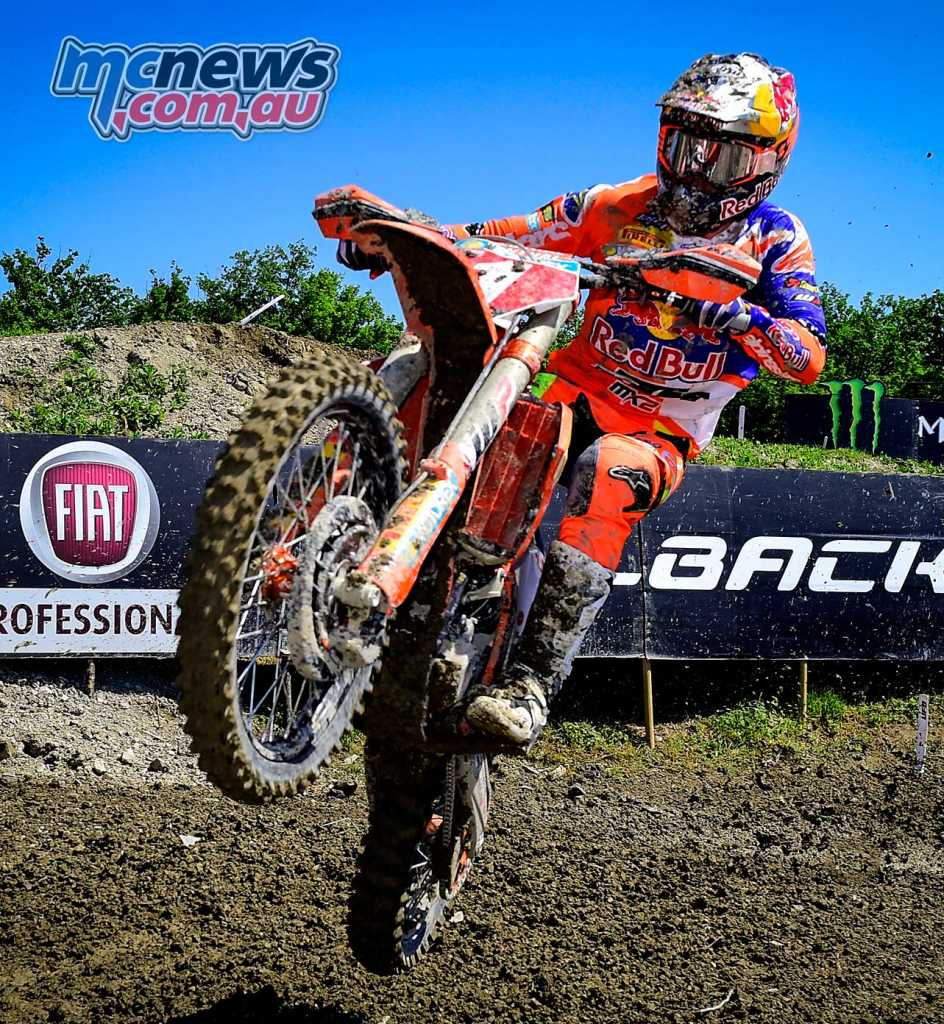 Pauls Jonass (LAT, KTM) leads the MX2 Championship by 20-points over KTM team-mate Jorge Prado