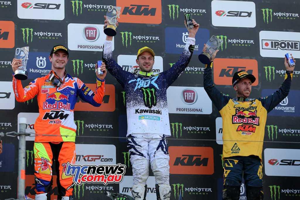 MXGP Overall Top Ten Clement Desalle (BEL, KAW), 47 points Jeffrey Herlings (NED, KTM), 45 p. Antonio Cairoli (ITA, KTM), 38 p.
