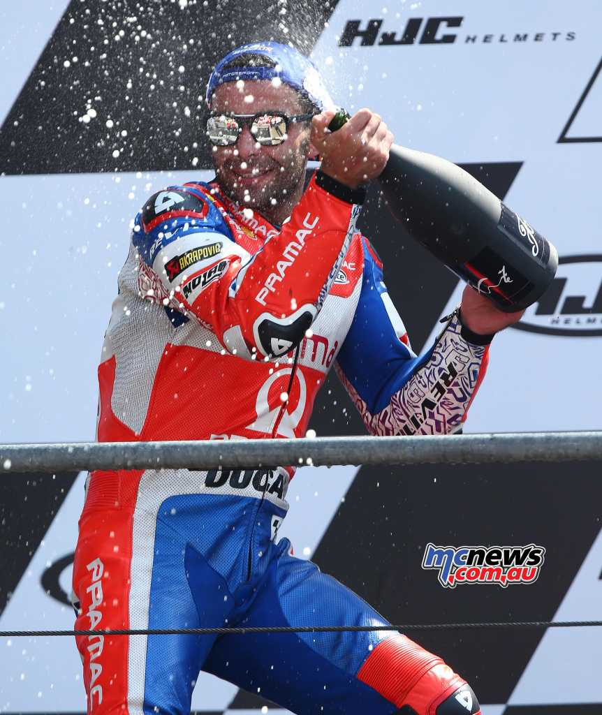 Danilo Petrucci on the podium at Le Mans - Image by AJRN
