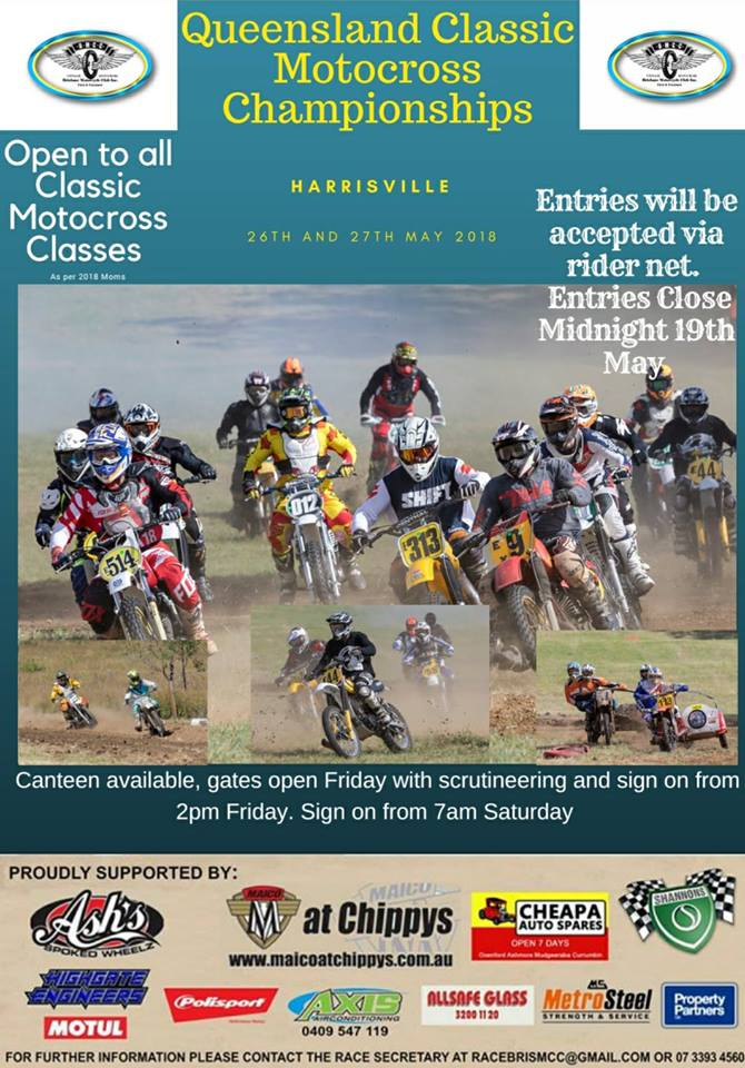 Harrisville to Host Qld Classic MX Championships