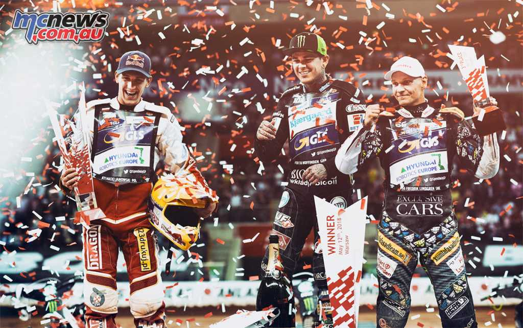 Tai Woffinden on the podium at the FIM Speedway GP of Poland