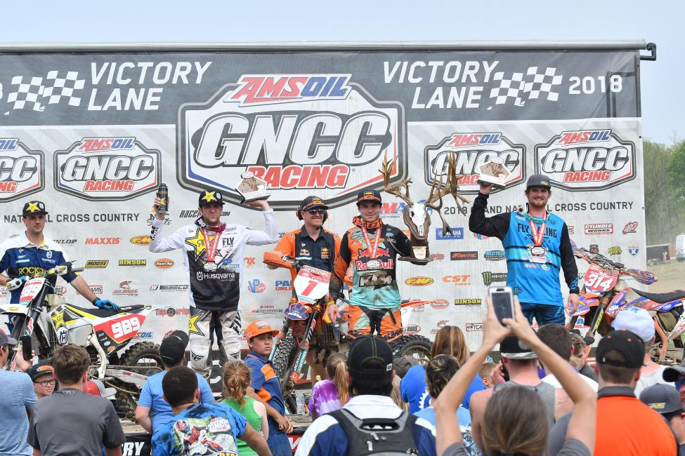 Kailub Russell topped the podium from Thad Duvall and Grant Baylor - GNCC 2018 - X-Factor Whitetails - Image by Ken Hill