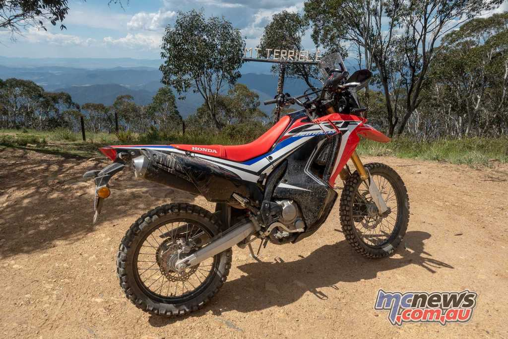 Honda CRF250 Rally atop Mount Terrible
