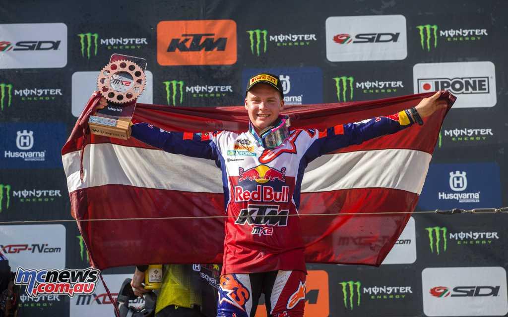 Pauls Jonass was third overall on the MX2 podium