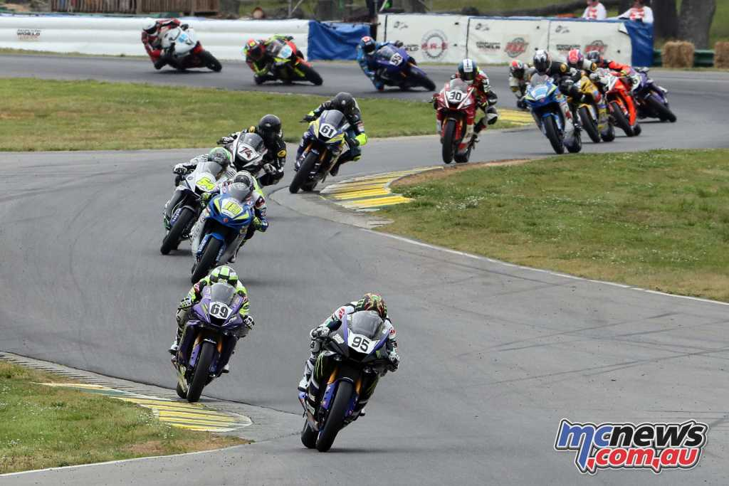 JD Beach leading the Supersport field on Saturday