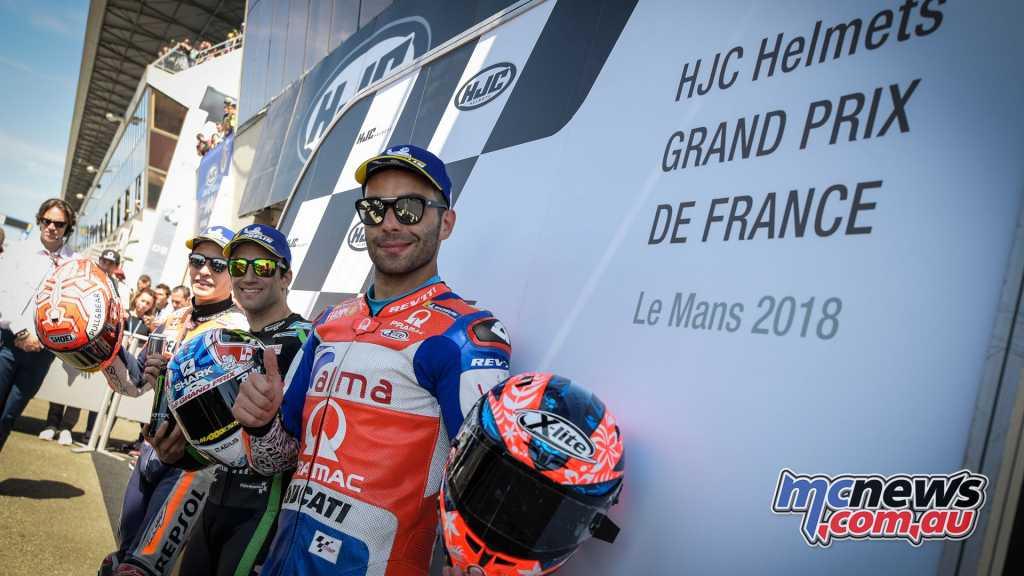 The Le Mans MotoGP front row - Petrucci, Marquez, Zarco