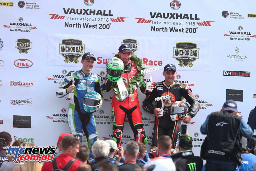 Glenn Irwin topped the North West 200 Superbike podium from Michael Rutter and Dean Harrison